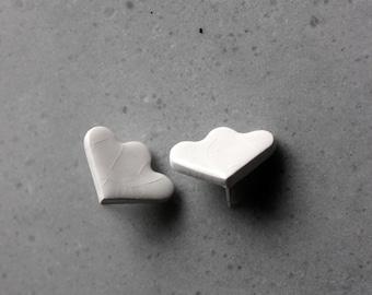 White porcelain stud earrings, minimalistic flower white studs
