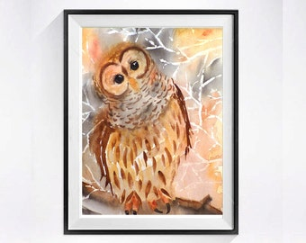 Nature Bird print, Owl print, Watercolor painting, Owl Poster, Owl Illustration, Owl wall art, Brown painting,  LaBerge,Sale