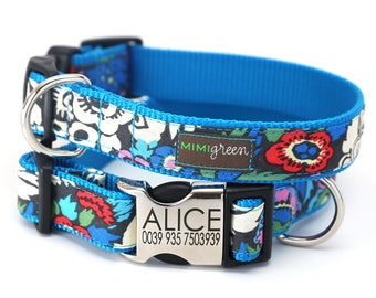 ALICE - Personalized Laser Engraved Metal Buckle Dog Collar -  Classic Cotton style - Blue colorful floral pattern