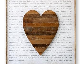 Amour signe qu'i Carry Your Heart with Me amour citation coeur rustique coeur bois rustique EE Cummings poème anniversaire cadeau mariage cadeau décoration murale
