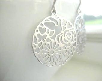 Paloma Earrings, Silver Ornate Filigree Earrings with Dove Hearts Flowers Butterfly