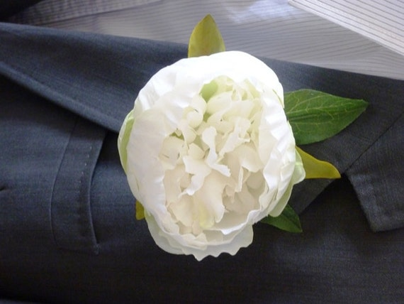 White peony rose buttonhole peony flower buttonhole like this item mightylinksfo Image collections