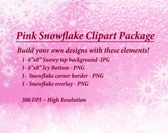 Pink Snow Clipart, Winter Graphics, Pink Snowflake, Christmas Clipart