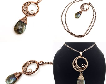 Wire Wrapped Copper Swirly Moon Necklace with Labradorite Tear Drop