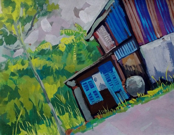 """FOREST HOME 20x16"""" gouache on paper, live painting, Mekong Delta (Cần Thơ Province), original by Nguyen Ly Phuong Ngoc"""