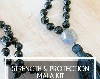 Strength & Protection Onyx Mala Kit - DIY Mala Beads - Make your Own Mala Necklace - mala kits/Mala beads/108 Mala/Mala Supplies/onyx beads
