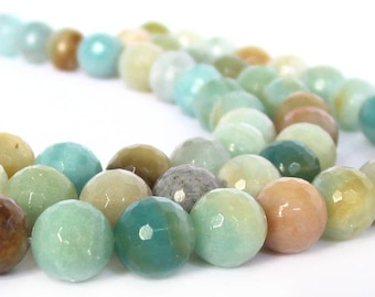 "15"" 4mm 6mm 8mm 10mm 12mm 14mm 16mm Amazonite FACETED round blue brown multicolor Beads polished Gemstone - PICK SIZE"