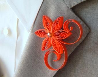 Groomsman Boutonniere Orange, Pumpkin Boutonniere Flower, Orange Men's Boutonniere Custom, Men Corsage, Orange Prom Boutonniere