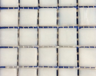 "15mm (3/5"") Winter White Opaque Glass Mosaic Tiles//Square Mosaic Supplies//Mosaic"