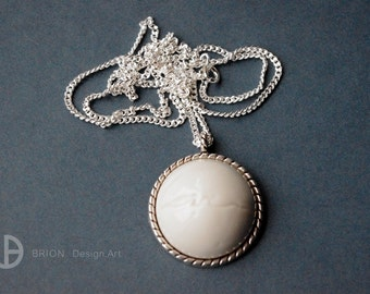 Necklace love, porcelain, glazed, 60 cm silver 925/version antique Silver