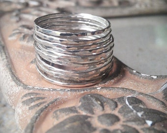 Hammered Stack Rings- Set of 12 Sterling Silver