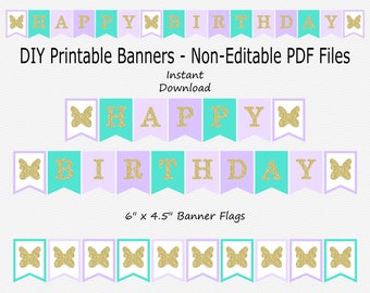 Happy Birthday Banner - Turquoise Blue, Pale Purple, Pastel Purple & Gold Glitter - Girl - Butterfly Party - PRINTABLE - INSTANT DOWNLOAD