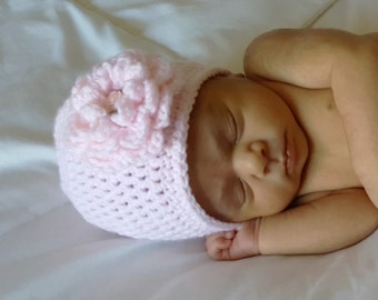 Crocheted Baby Flower Hat, Pink Baby Hat, Baby Girl Hat, Baby Girl Gift, Baby Girl Clothes, Pink Baby Hat