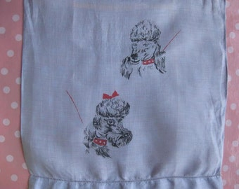 Poodle and Schnauser Dog Vintage Blue Linen Fingertip Hand Towel Irish Linen Schnouser and Poodle Linens Bathroom Decor