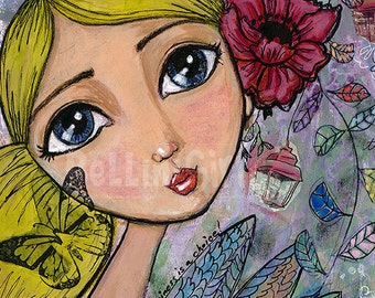 Whimsical Mixed Media Girl Art Print