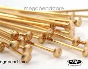 25 pcs 14K Gold Filled HeadPins 24 gauge 1.5 inch Flat Head F42GF