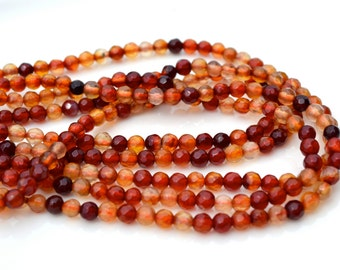 Red Agate Mix 4mm Faceted Stone Beads  Full 15 inch strand