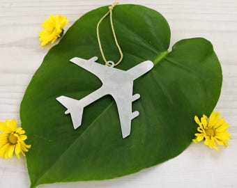 Airplane Metal Ornament Travel Souvenir Custom Engraving Stamping  Gift for Her Him World Fly Aviation Pilot Personalized Father's Day