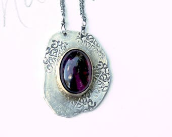 large pink tourmaline necklace . bohemian jewellery jewelry . silver and gold tourmaline necklace by peaces of indigo