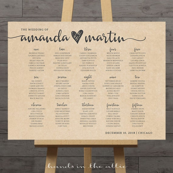 Rustic Wedding Seating Chart Ideas: Large Wedding Seating Chart Printable Guest Table Assignment