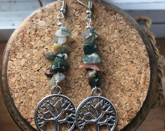 Various Jasper earrings with Tree of Life charm