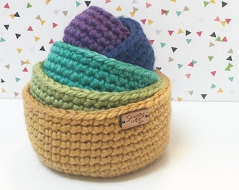 Nursery Decor / Crochet Nesting Bowls / Crochet Bowl / Storage Bowls / Rainbow Bowls (Set of 5) / Stacking Bowls / Home Decor / Spring Decor