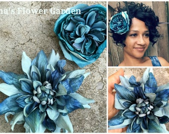 Teal, blue and green hair flower, ranunculus or dahlia, teal barrette