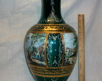 "Listing 129 is the antique one of a kind hand painted glass vase 16.5"" H"