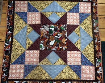 Native American Feather Star Quilt Wall Hanging, Quiltsy Handmade