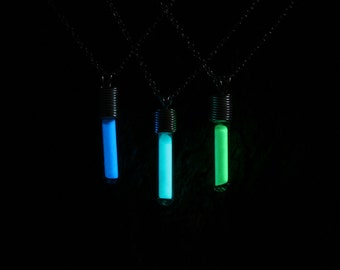 Glow stick Pendant. Hand blown glass & sterling silver pendant with glow in the dark Pixie dust inside. Choose color. Party pendant.