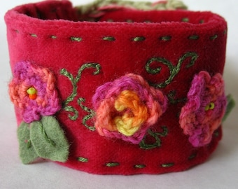 Raspberry Velvet Garden - Cuff Bracelet - Fabric Jewelry - SALE - OOAK