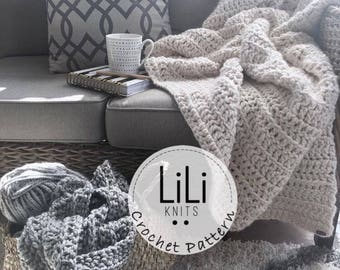 Crochet Pattern | LiLiKnits Chunky Crochet Blanket Throw Afghan Pattern | THE COMODO | Instant Download