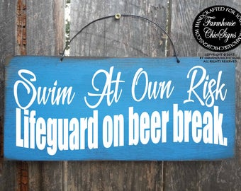 funny no lifeguard on duty swimming pool sign summer decor swim at own risk pool decor outdoor decor beach decor housewarming gift