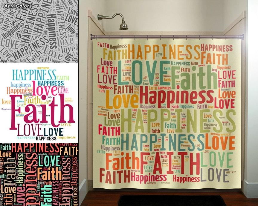 Very faith love happiness peace inspirational shower curtain extra KY41