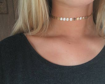 Gold Coin Choker || Gold Circle Necklace || Gold Disc Chain Choker || Gold Chain Choker || Gold Linked Chain || Gold Layer Necklace