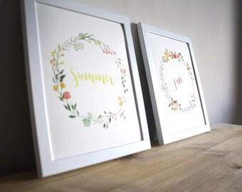 Seasons Watercolor Prints - Set of 4 - 8x10