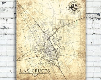 LAS CRUCES NM Canvas Print Nm New Mexico City Vintage map Wall Art poster map Vintage retro old antique nm City map home decor Bedroom art