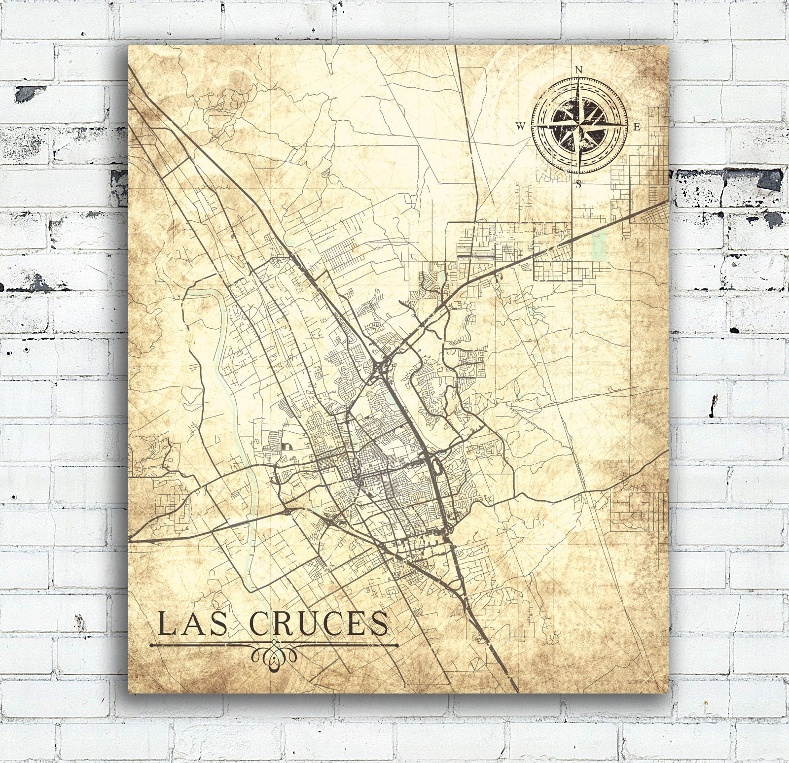 LAS CRUCES NM Canvas Print Nm New Mexico City Vintage map Wall Art