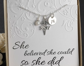Social Worker Necklace, social work professional, SW gift  - Sterling Silver Initial Charm, Pearl or Birthstone