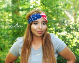 American Flag Headband. USA Headband. America Headband. USA Turban. 4th of July Headband. 4th of July. Americana. USA Women Headband.