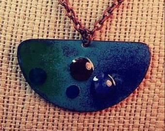 Copper Enameled Necklace