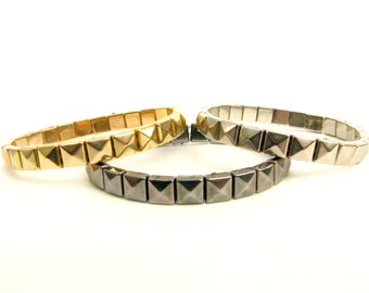 Skinny Single Row Pyramid Stud Bracelet