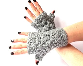 Grey Knit Owl Fingerless Gloves. Knitted Fingerless Mittens. Arm Warmers. Wrist & Hand Warmers. Women Accessories.