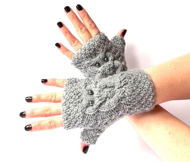 Grey Knit Owl Fingerless Gloves. Knitted Fingerless Mittens.