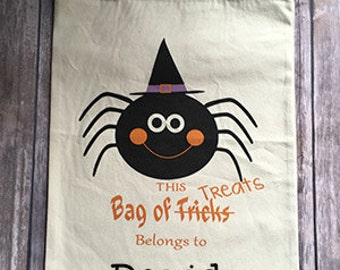 Personalized Spider Trick or Treat Bag, Trick or Treat Tote, Trick or Treat Bag