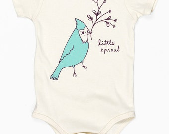 baby clothing gift, little sprout baby, bird baby clothes, unique baby clothes, cute baby clothes, baby one piece, cute baby gift, unique