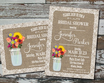 Burlap and Lace Invitation - Wildflower - Custom