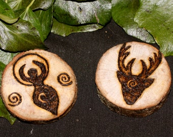 English Oak Wood Horned God and Moon Goddess Altar pieces or Amulets for a Wiccan or Pagan Altar