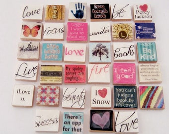 34 Scrabble Tile Charms for Pendant Making - Children's Craft Project - Bulk Wholesale Charms - Sample Pack