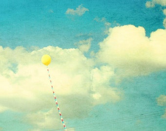 yellow balloon, blue, white, happiness, dreamy, sky, fine art photography